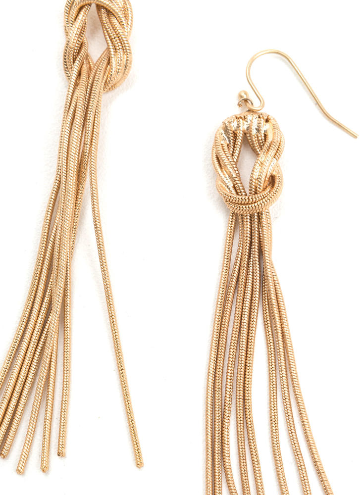 Knotty Vibe Dangling Chain Earrings GOLD