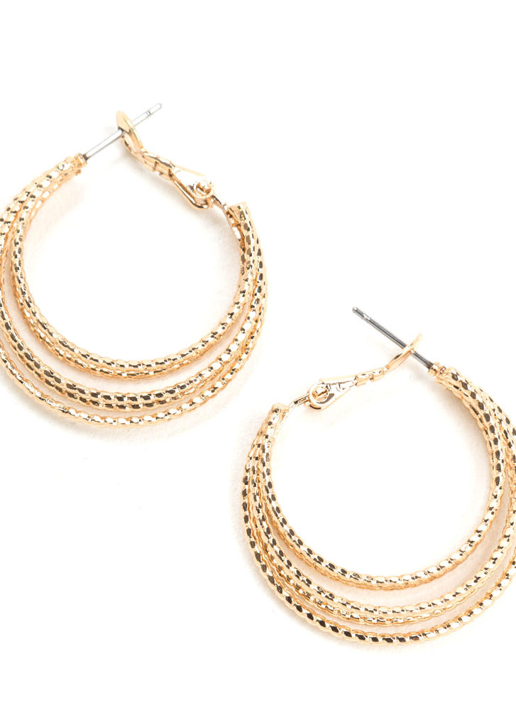 Bright On Layered Hoop Earrings GOLD