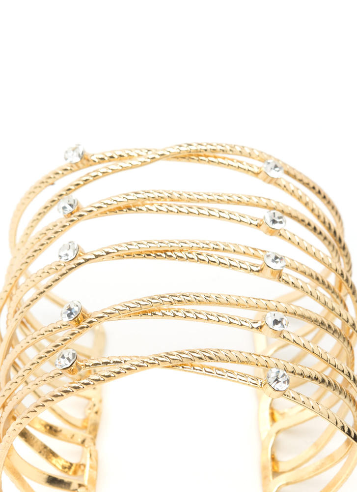 Roped In Jeweled Wire Cuff Bracelet GOLD