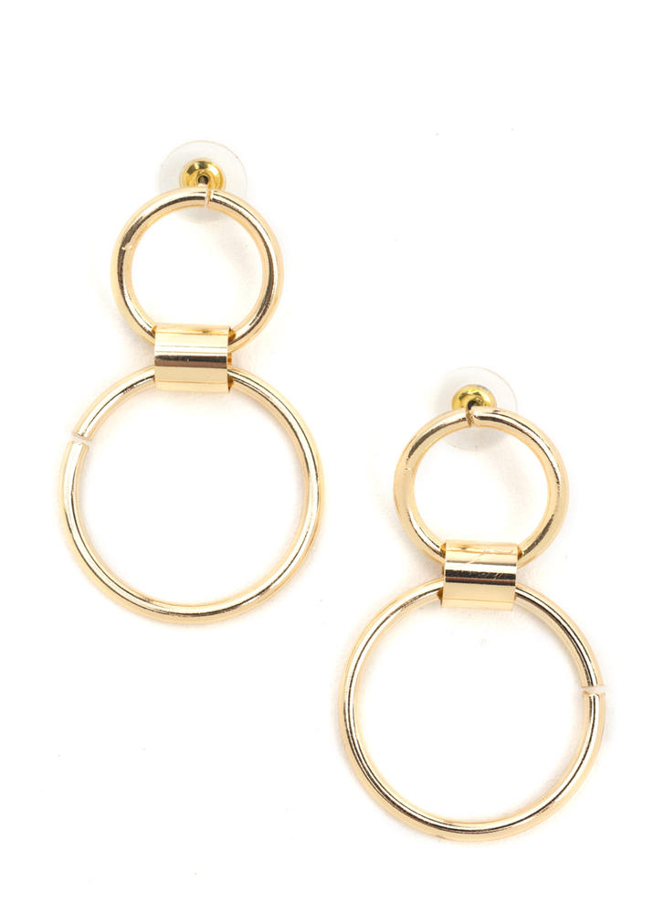 Round We Go Double Hoop Earrings