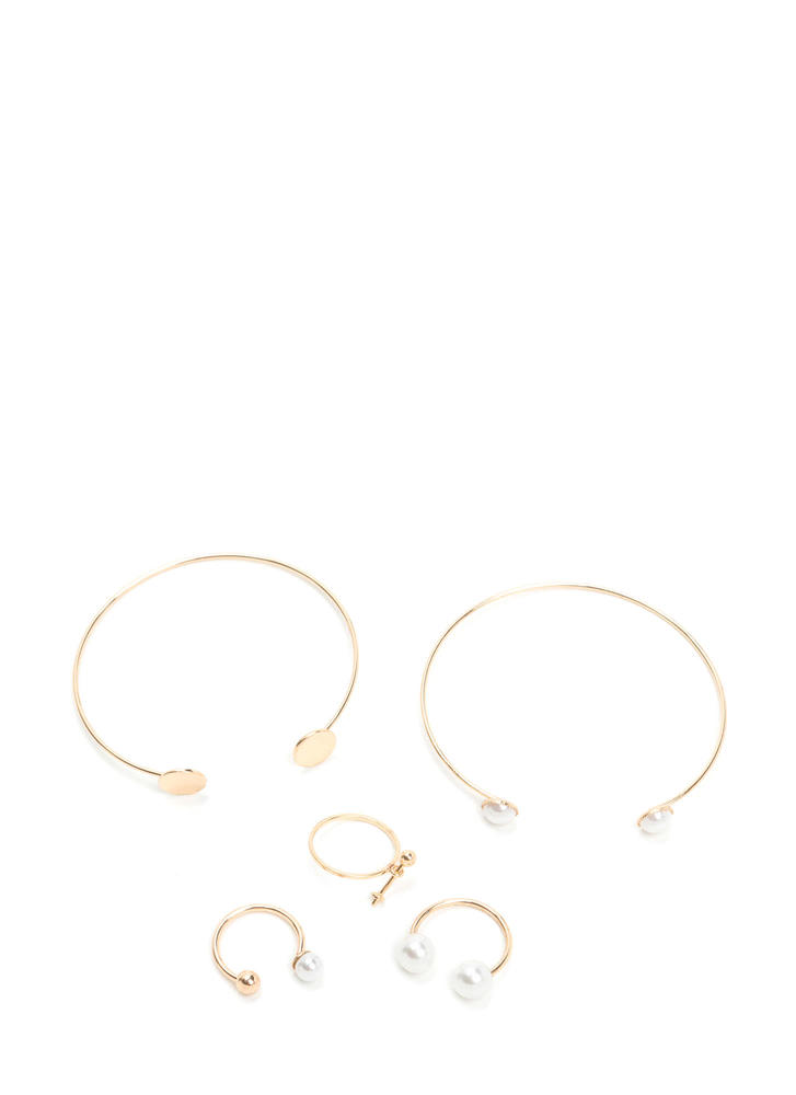 Luxe Minimal Beauty Cuff 'N Ring Set GOLD