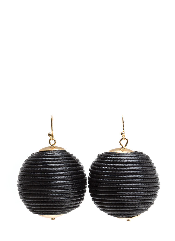 Right Cord Wrapped Ball Earrings BLACK