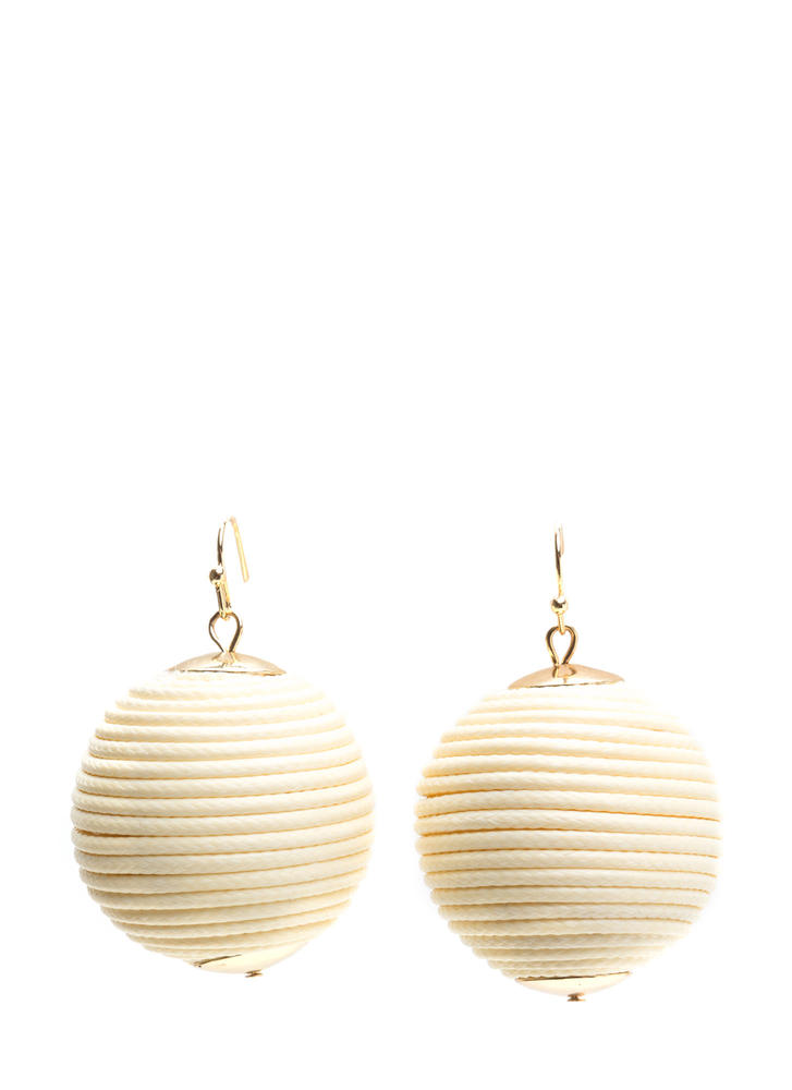 Right Cord Wrapped Ball Earrings NATURAL