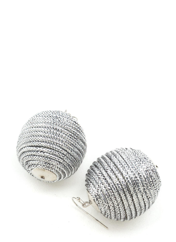 Right Cord Wrapped Ball Earrings SILVER