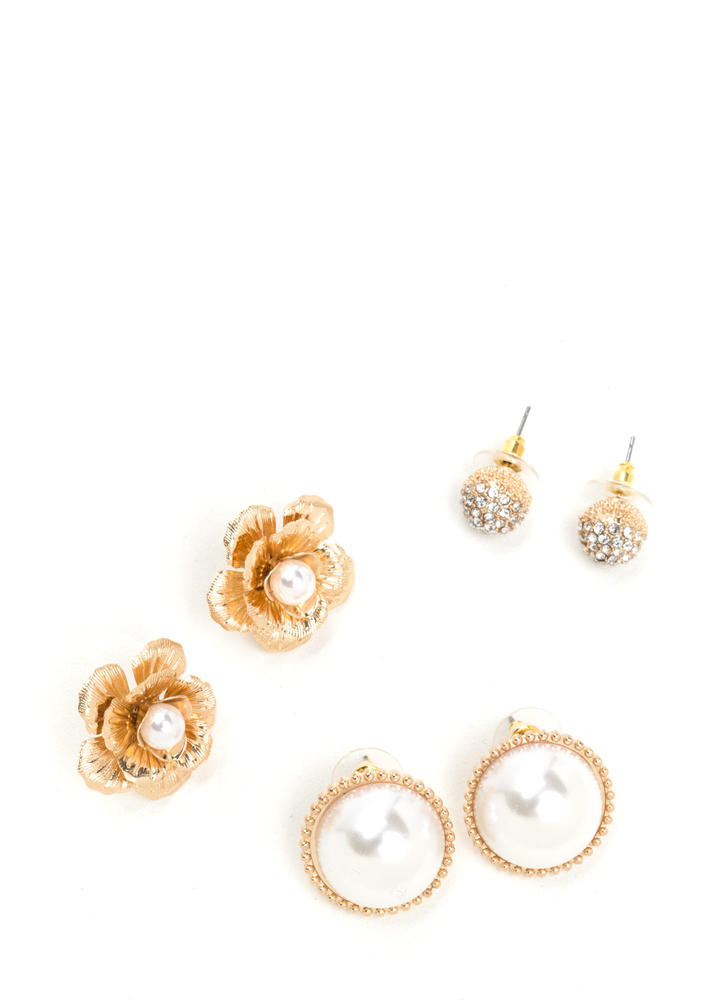 Perfect Mix Faux Pearl Earring Set
