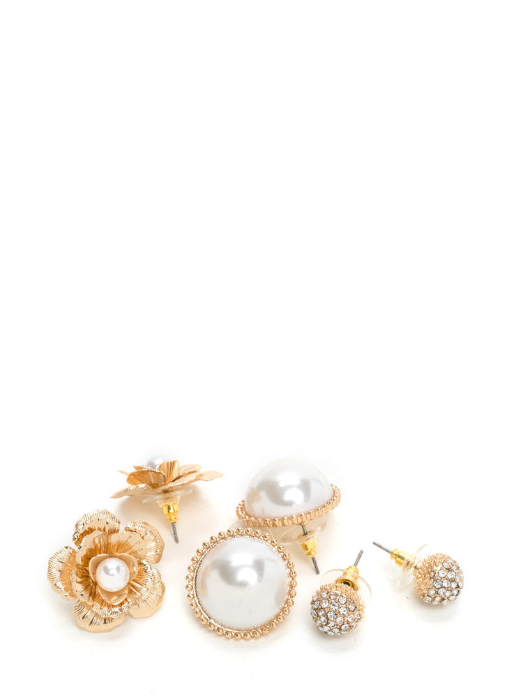 Perfect Mix Faux Pearl Earring Set GOLD