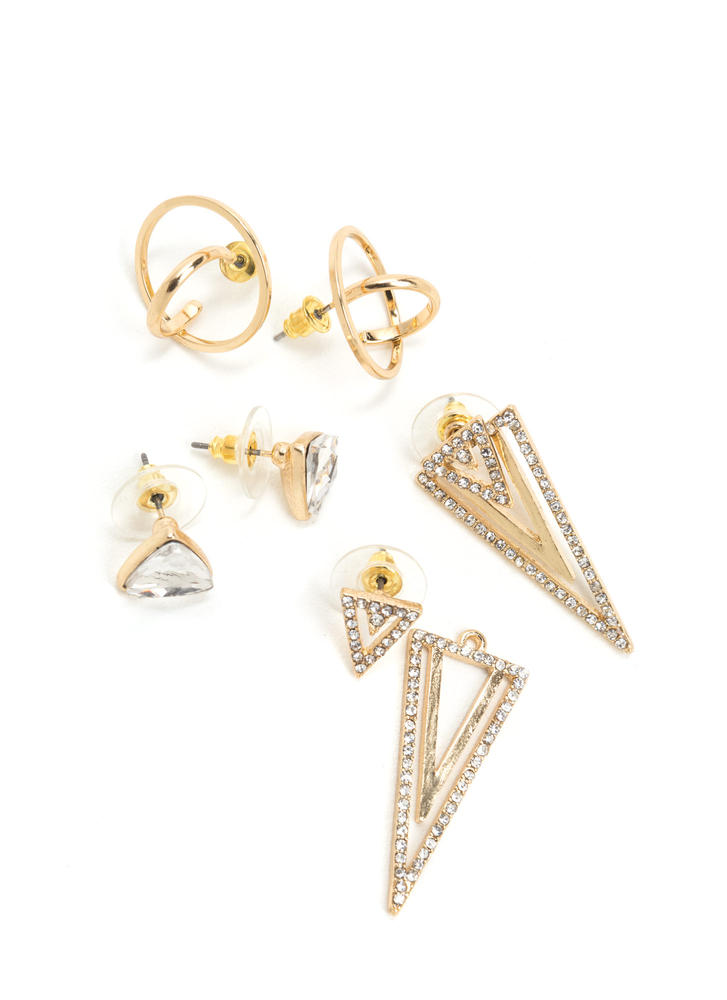 Precious Baubles Sparkly Earring Set GOLD