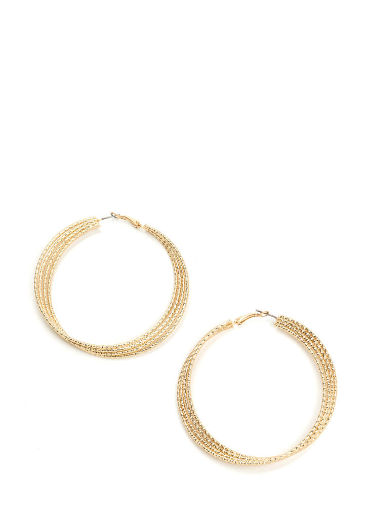 Side By Side Layered Hoop Earrings GOLD