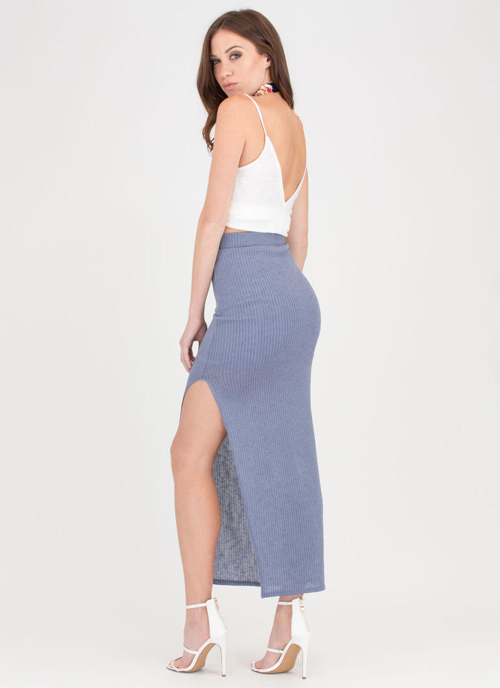 It's A Knit Ribbed Slit Maxi Skirt BLUE