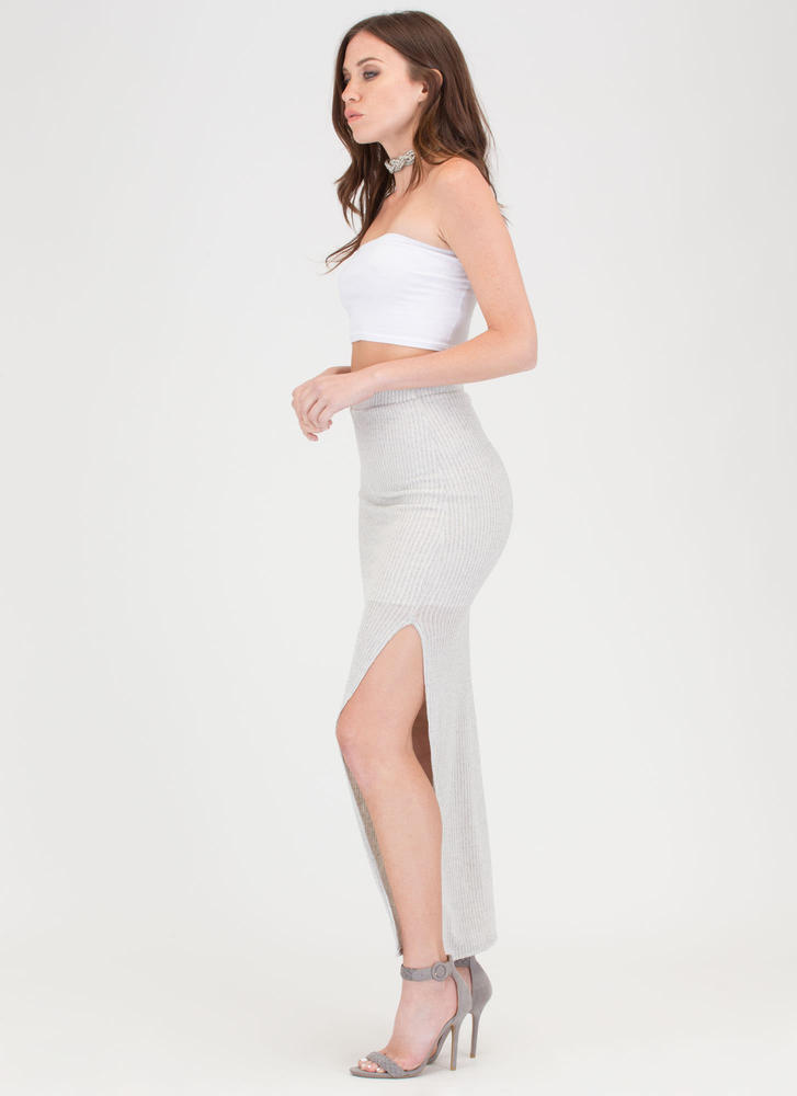 It's A Knit Ribbed Slit Maxi Skirt OATMEAL