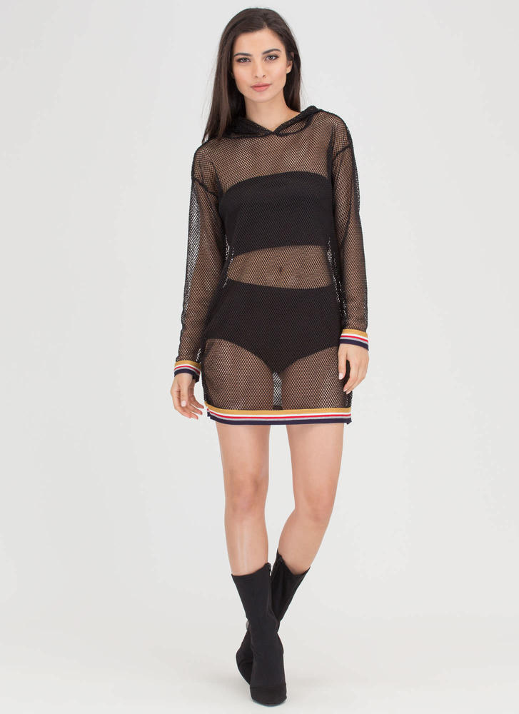 Cast A Fishnet Hooded Minidress BLACK