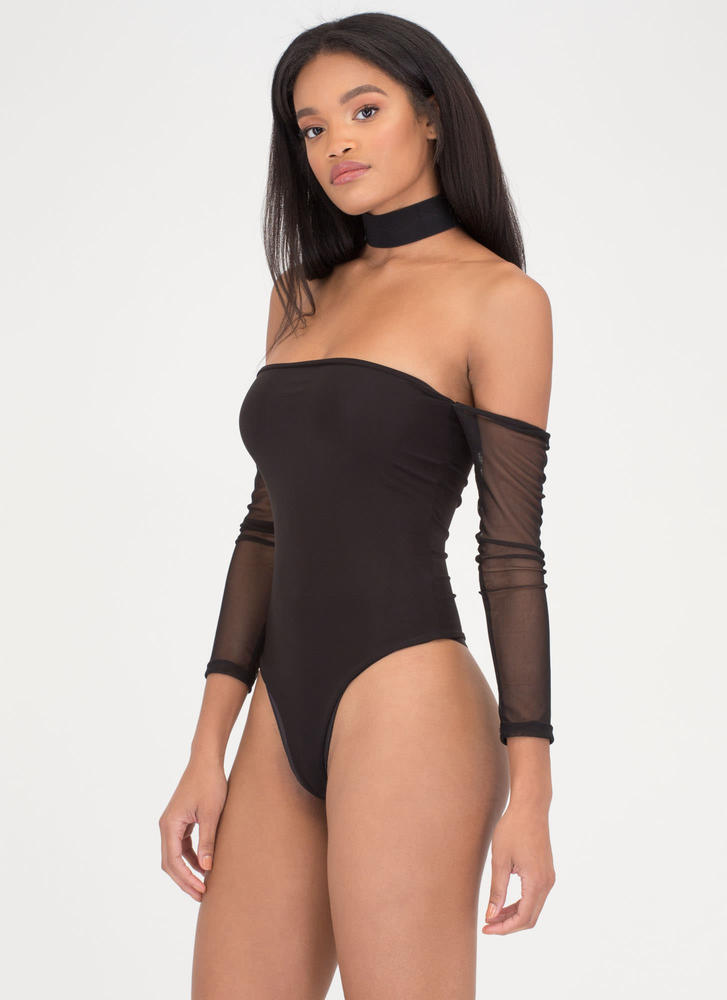 Sheer Genius Off-Shoulder Thong Bodysuit