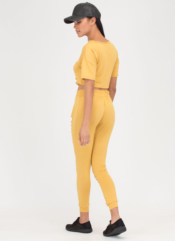 Slit List Crop Top 'N Pants Set MUSTARD