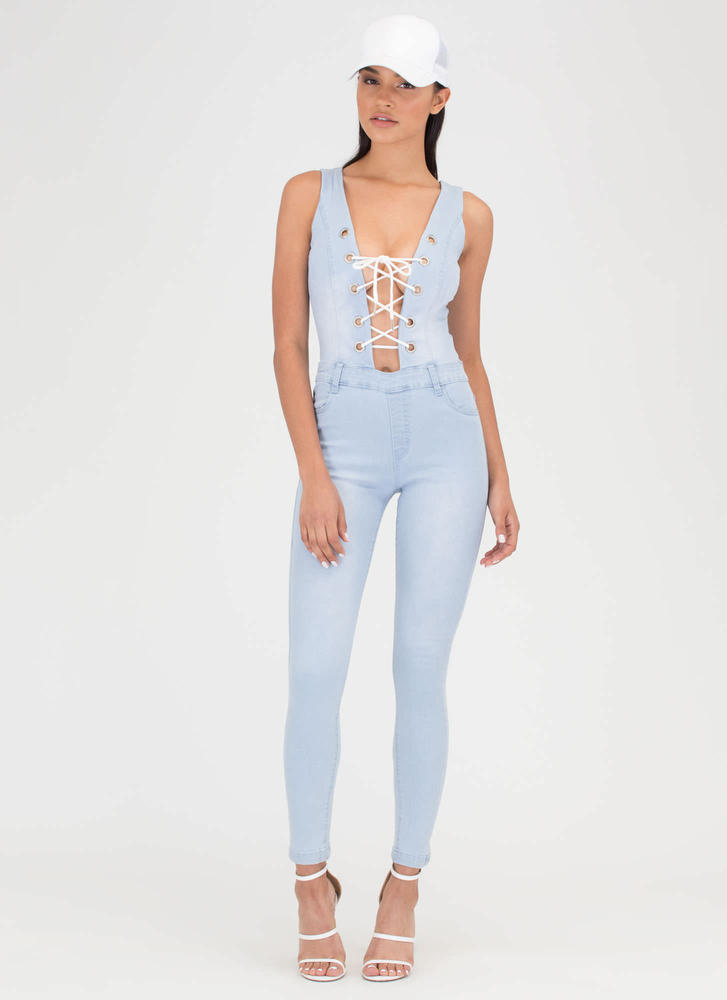 Tied Or Die Lace-Up Denim Jumpsuit