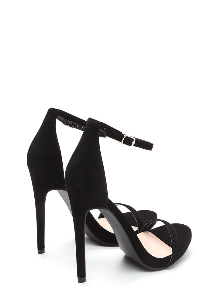 Sleek Out Strappy Faux Patent Heels BLACK