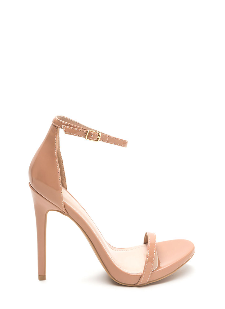 Sleek Out Strappy Faux Patent Heels