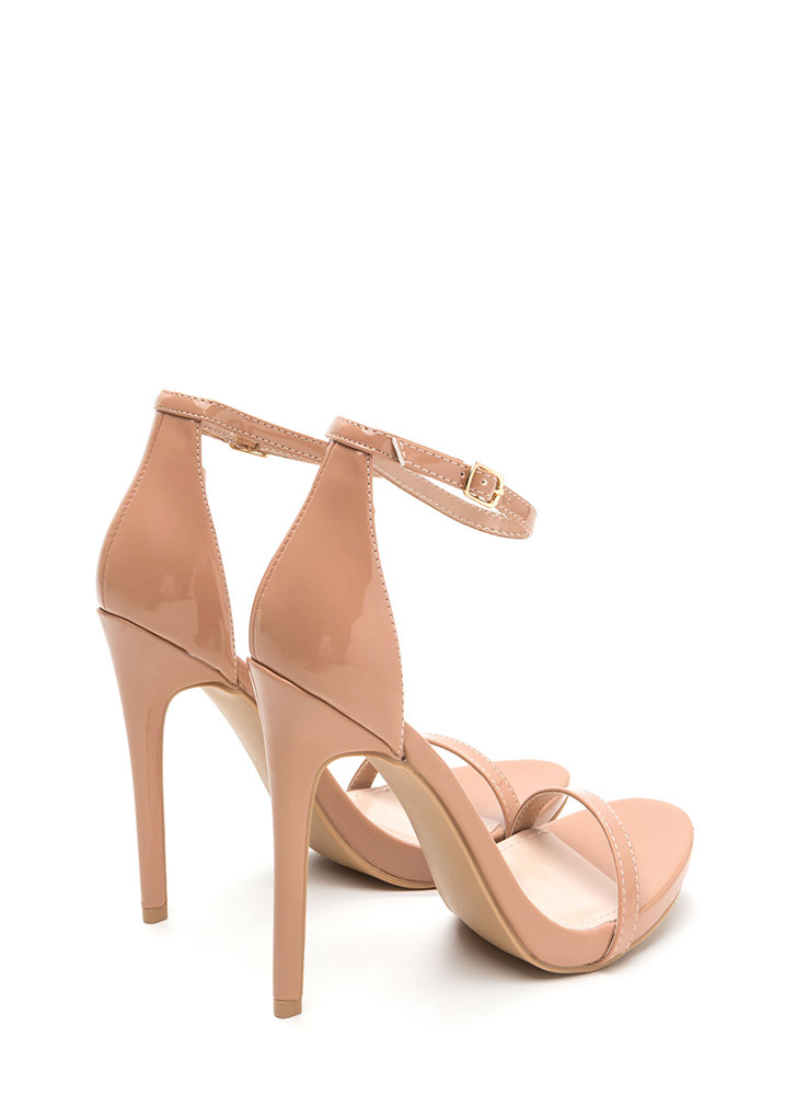 Sleek Out Strappy Faux Patent Heels TAUPE