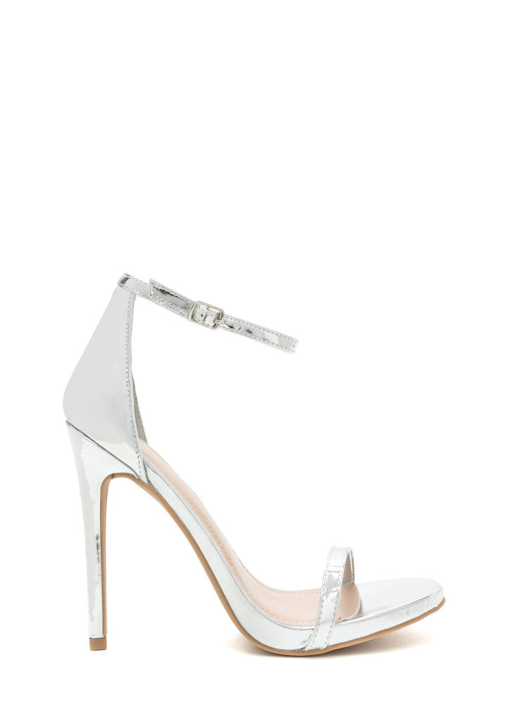 Sleek Out Strappy Metallic Heels SILVER
