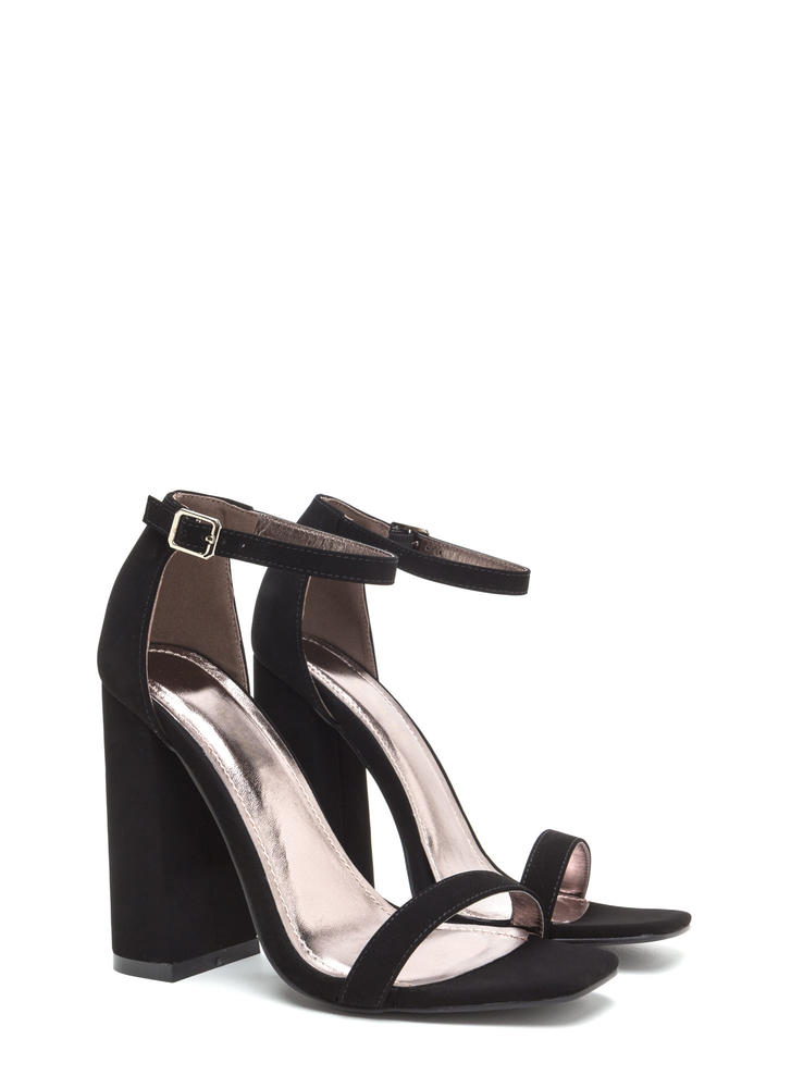 Stand Out Faux Nubuck Chunky Heels BLACK