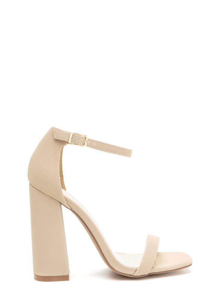 Stand Out Faux Nubuck Chunky Heels NUDE