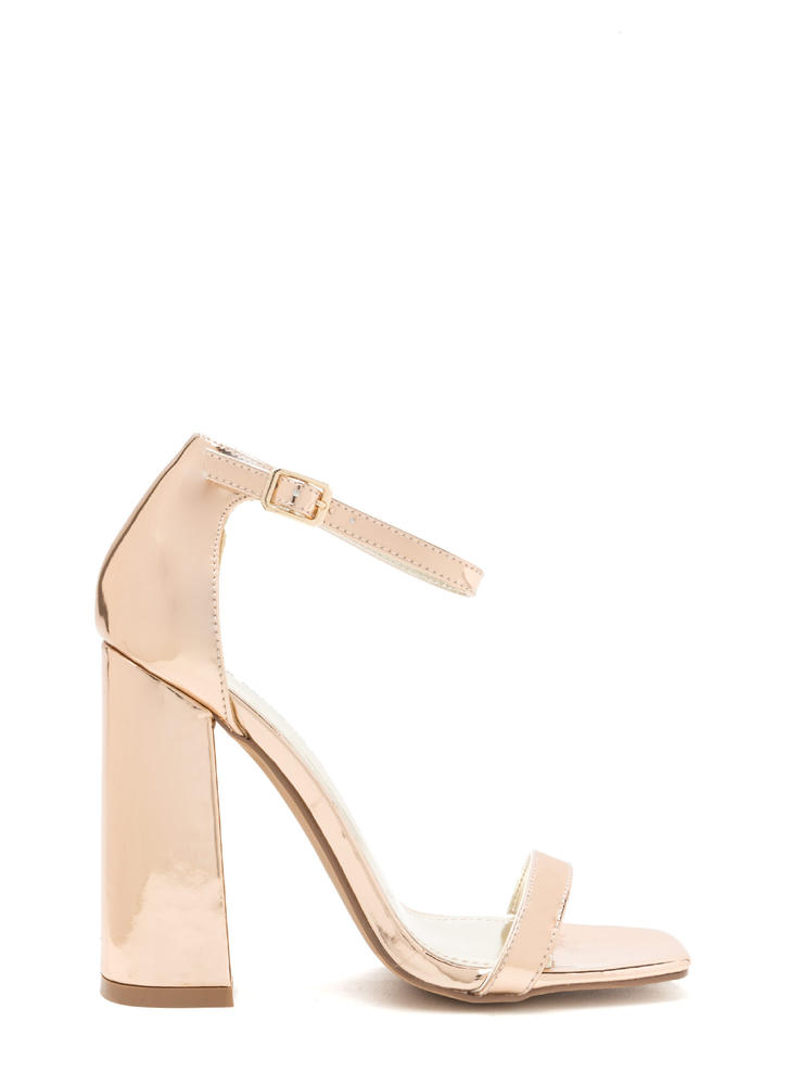 Stand Out Chunky Metallic Heels ROSEGOLD
