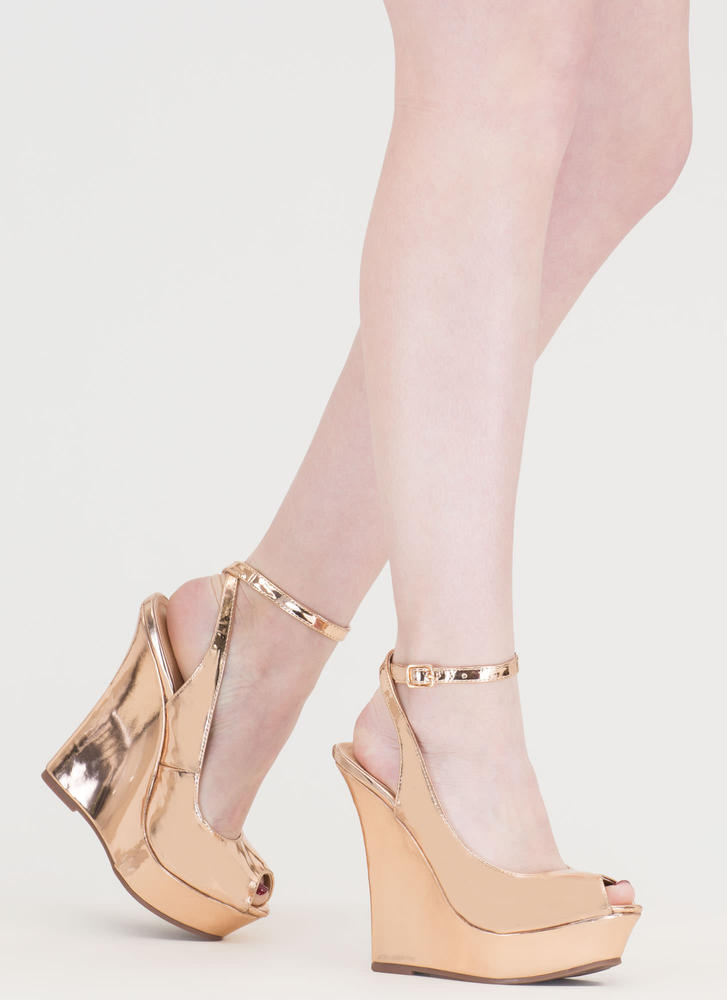 Slay Fair Metallic Platform Wedges