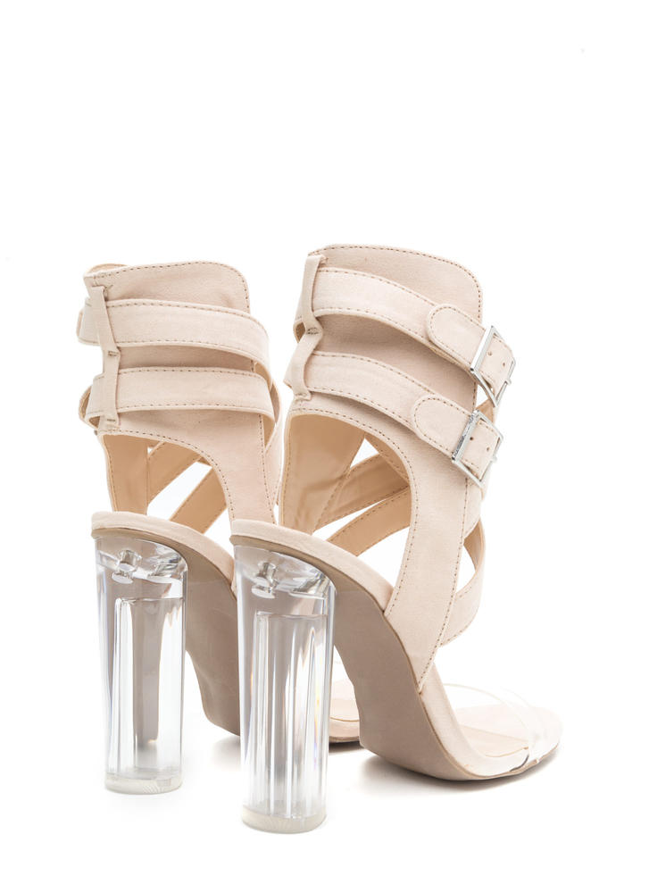 Clearly A Fine Evening Chunky Heels NUDE