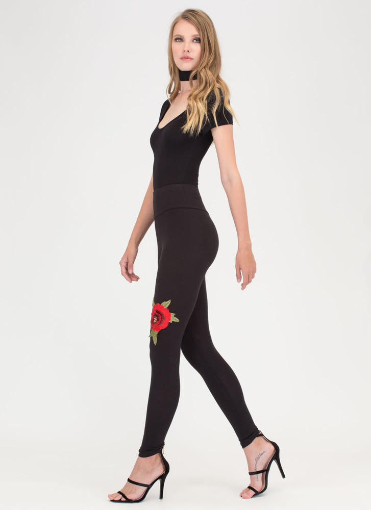 Come Up Roses Embroidered Leggings BLACK