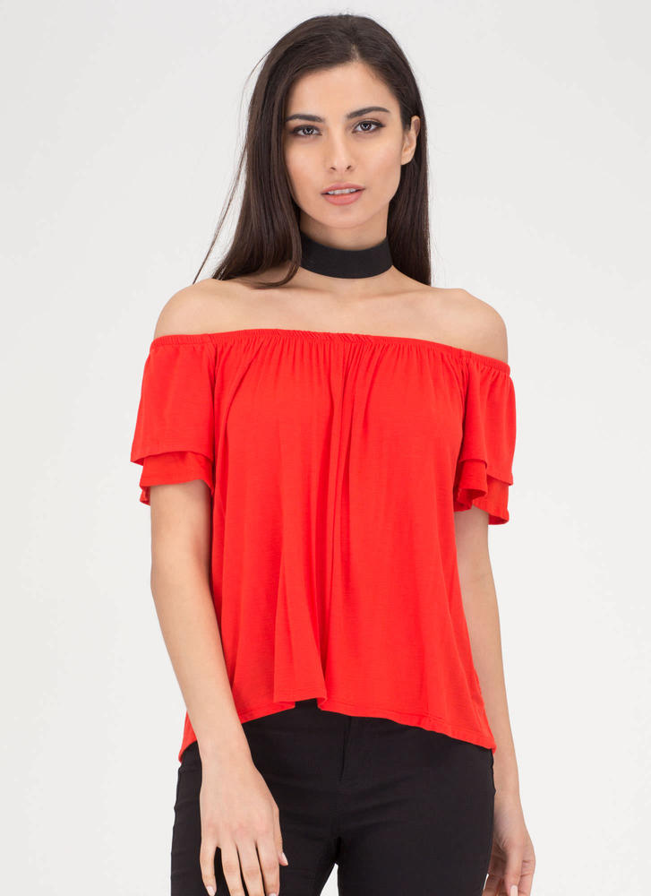 Swing It Double Ruffled Top TOMATO