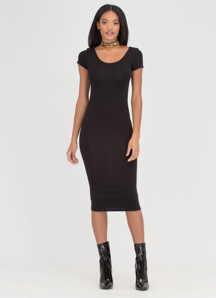 Double Scoop Bodycon Midi Dress