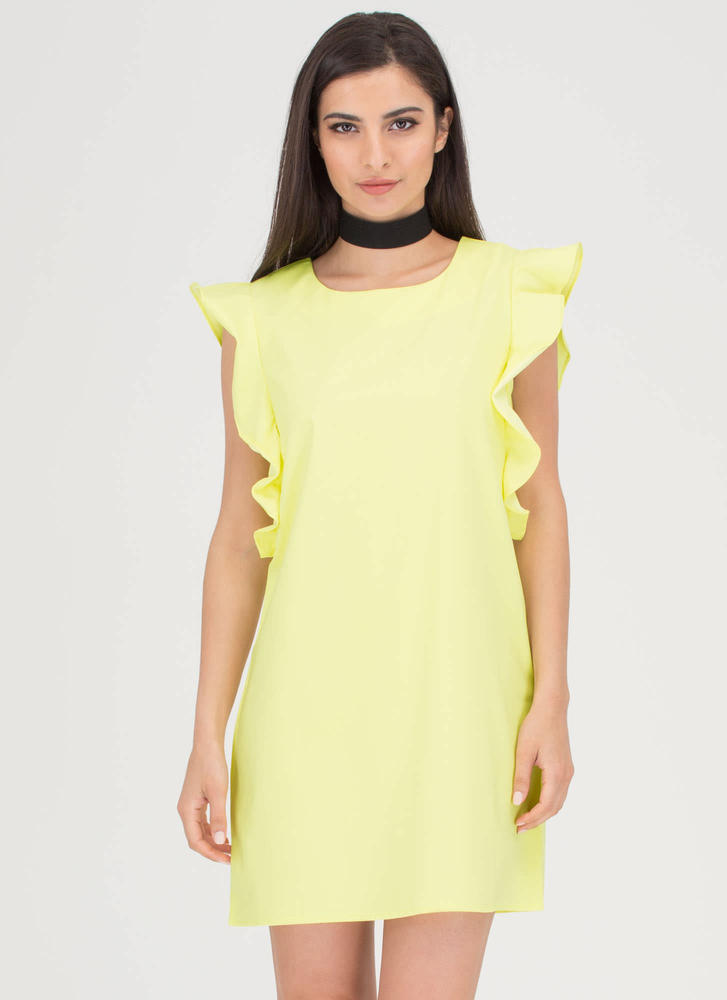 Flirty Ruffles Shift Minidress LTYELLOW