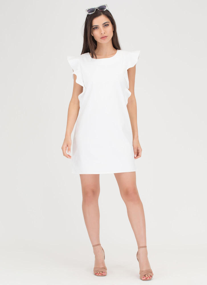 Flirty Ruffles Shift Minidress OFFWHITE