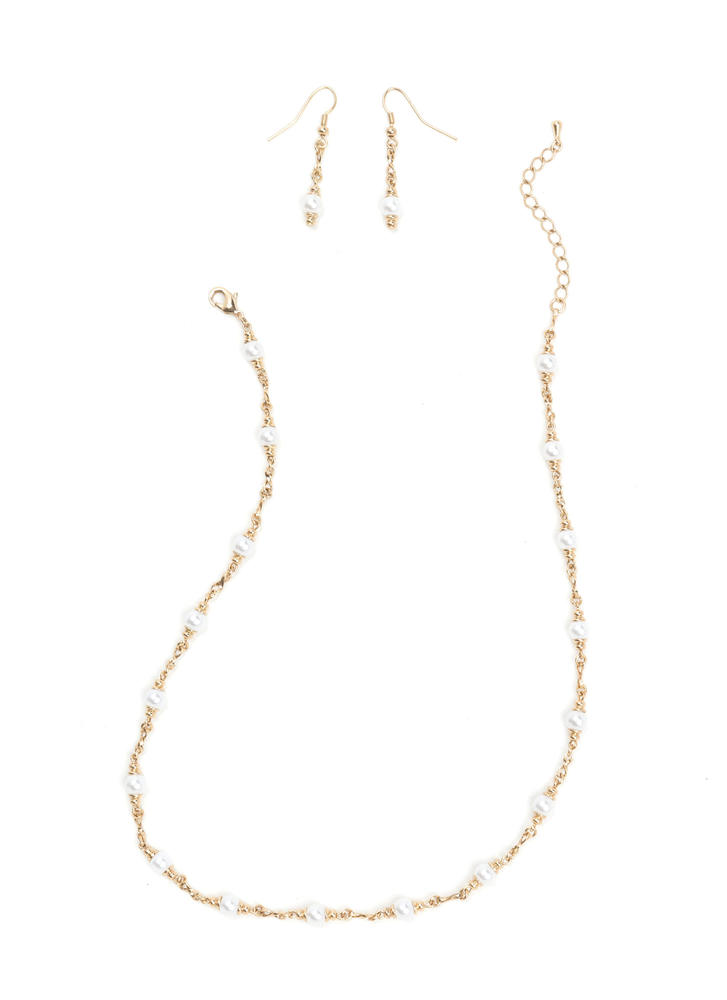Give It A Pearl Chain Necklace Set
