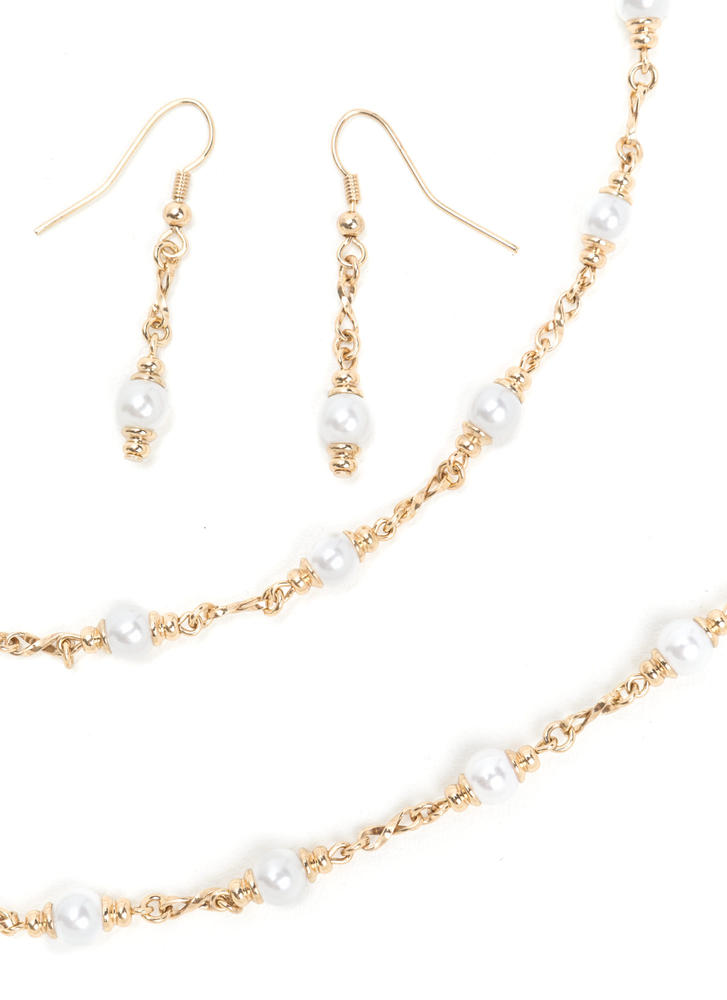 Give It A Pearl Chain Necklace Set GOLDIVORY