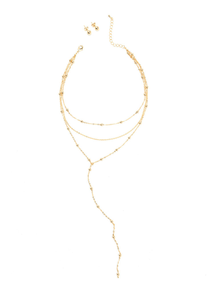Y Not Layered Bead Chain Necklace Set