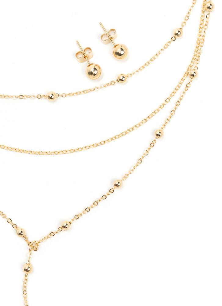 Y Not Layered Bead Chain Necklace Set GOLD