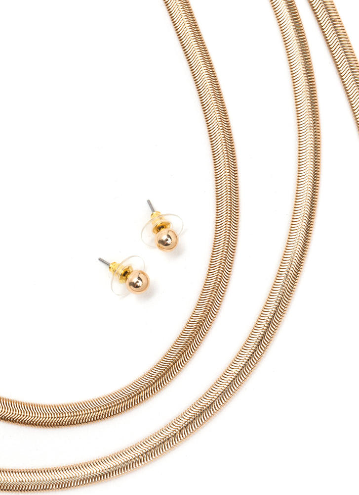 Snake By Choker 'N Layered Necklace Set GOLD