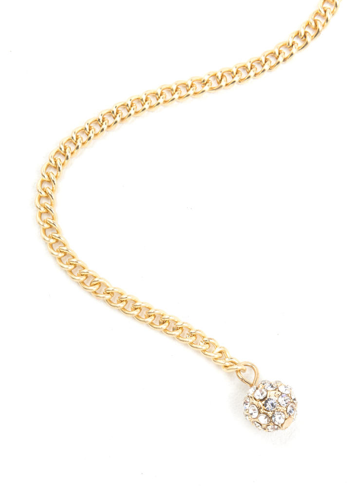 Yes Girl Sparkly Y-Drop Lariat Necklace GOLD