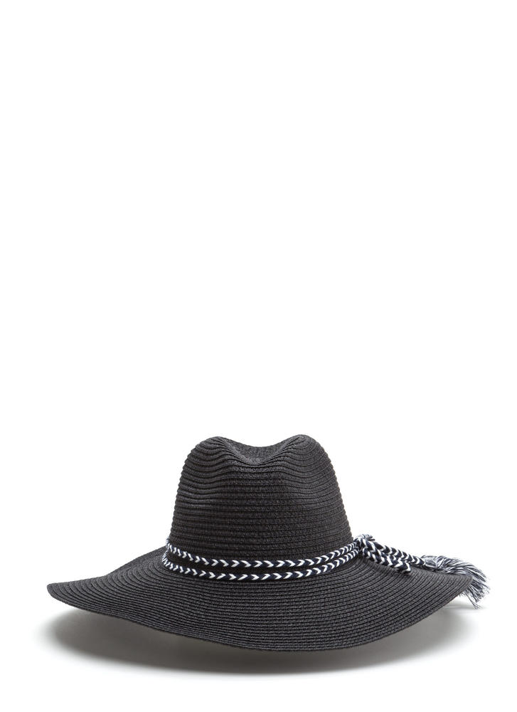 Time To Tassel Woven Floppy Hat BLACK