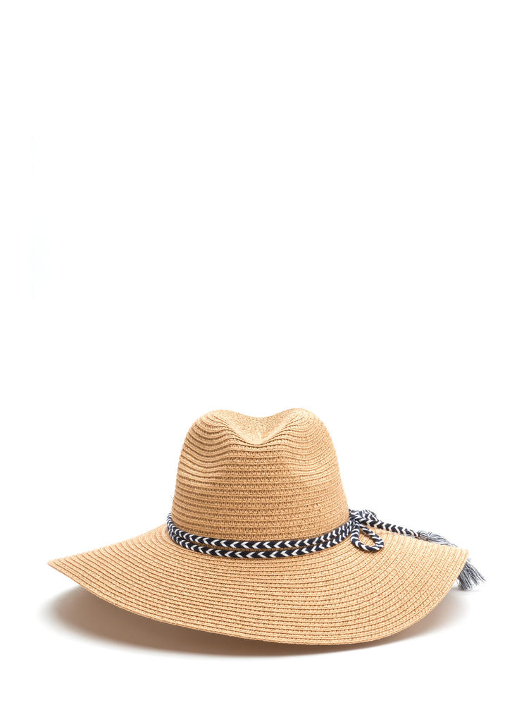 Time To Tassel Woven Floppy Hat CAMEL