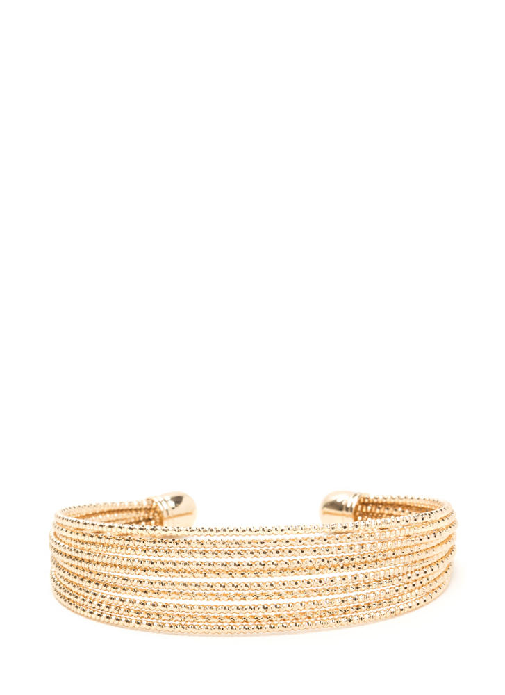 Totally Wired Shiny Stacked Cuff GOLD