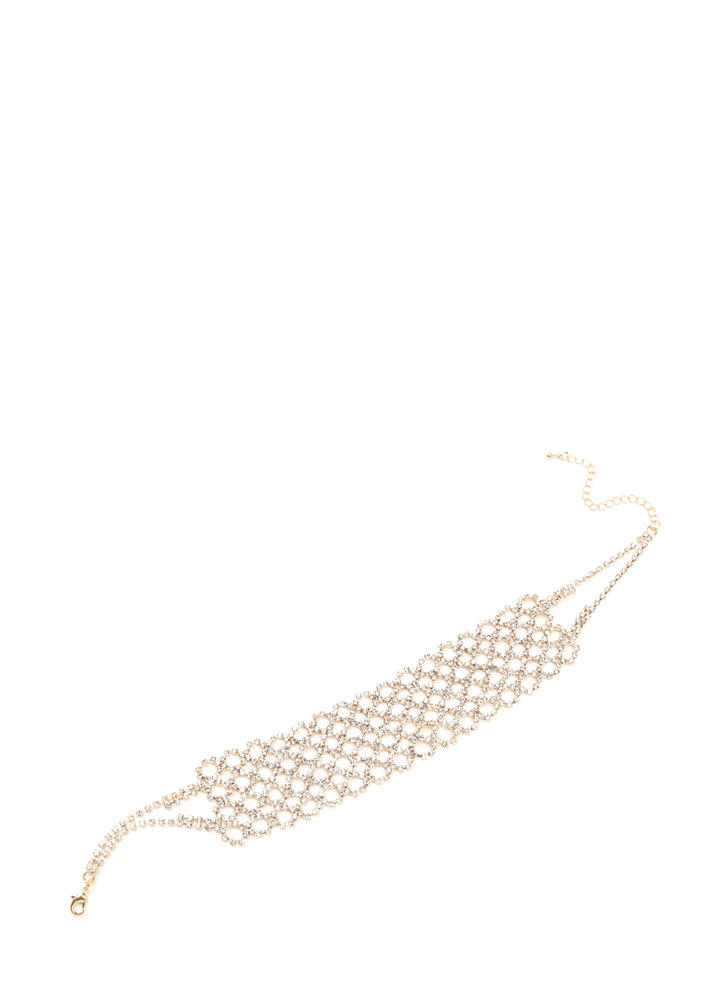 Lattice Go Wide Rhinestone Choker