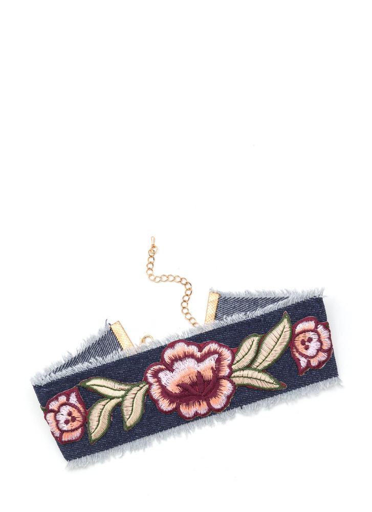 Flower Festival Fringed Denim Choker