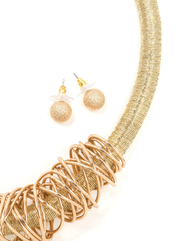 Key Figure Coiled Necklace Set GOLD