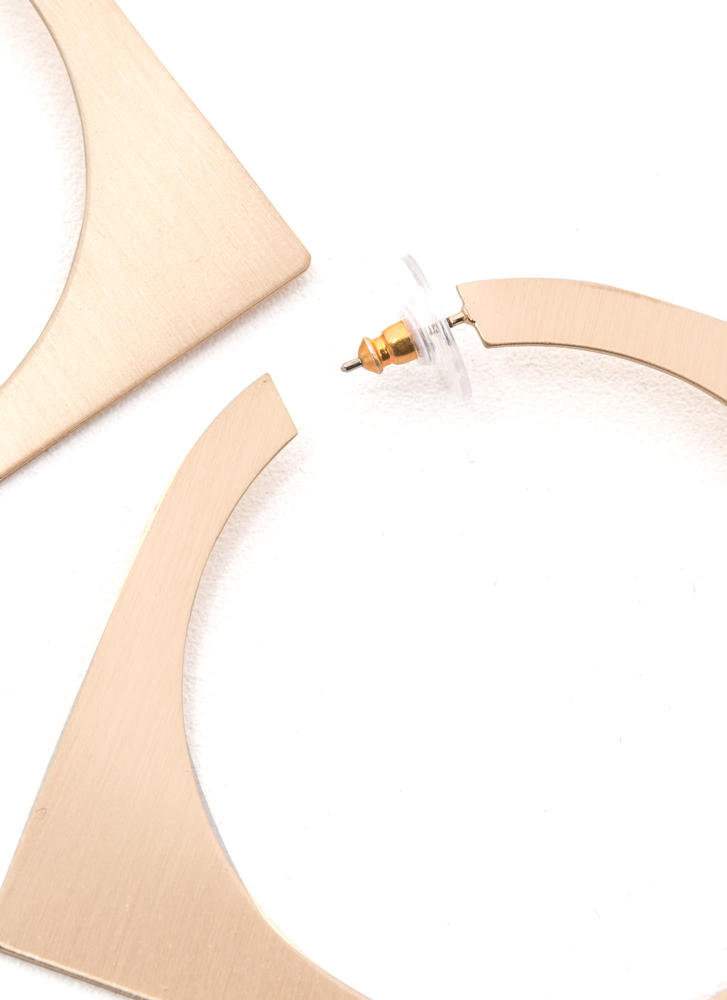 Abstract Concept Cut-Out Square Earrings GOLD