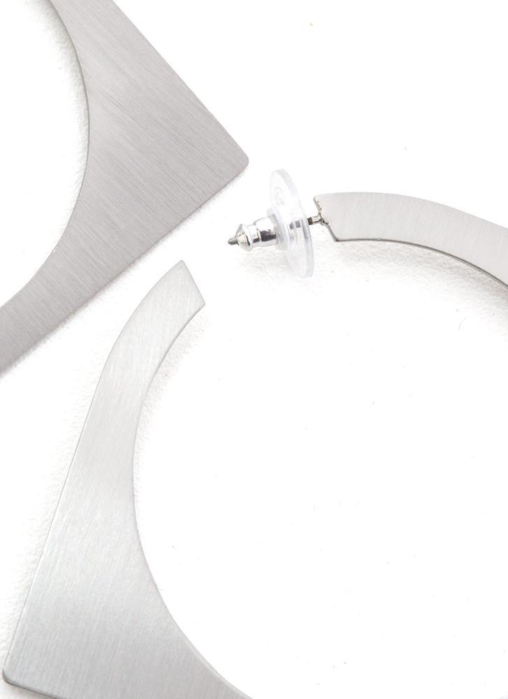 Abstract Concept Cut-Out Square Earrings SILVER