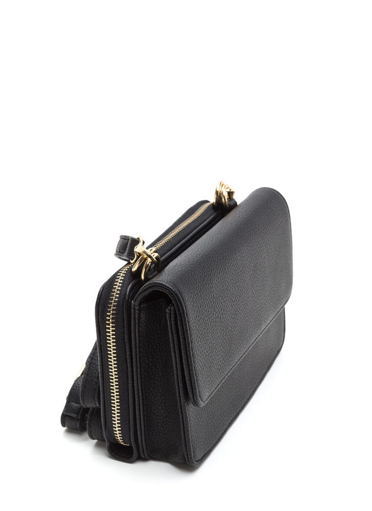2 Become 1 Faux Leather Crossbody Bag BLACK
