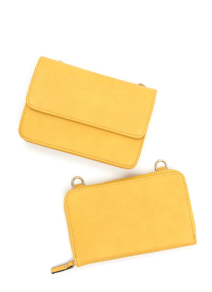 2 Become 1 Faux Leather Crossbody Bag YELLOW