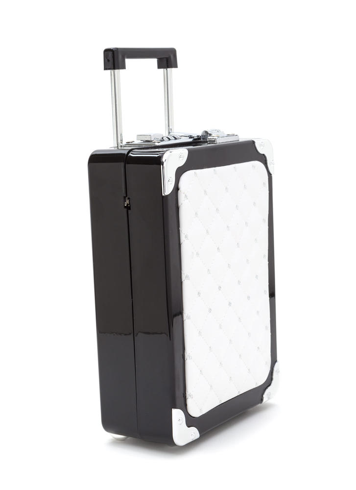 Jet Setter Quilted Luggage Purse BLACKWHITE