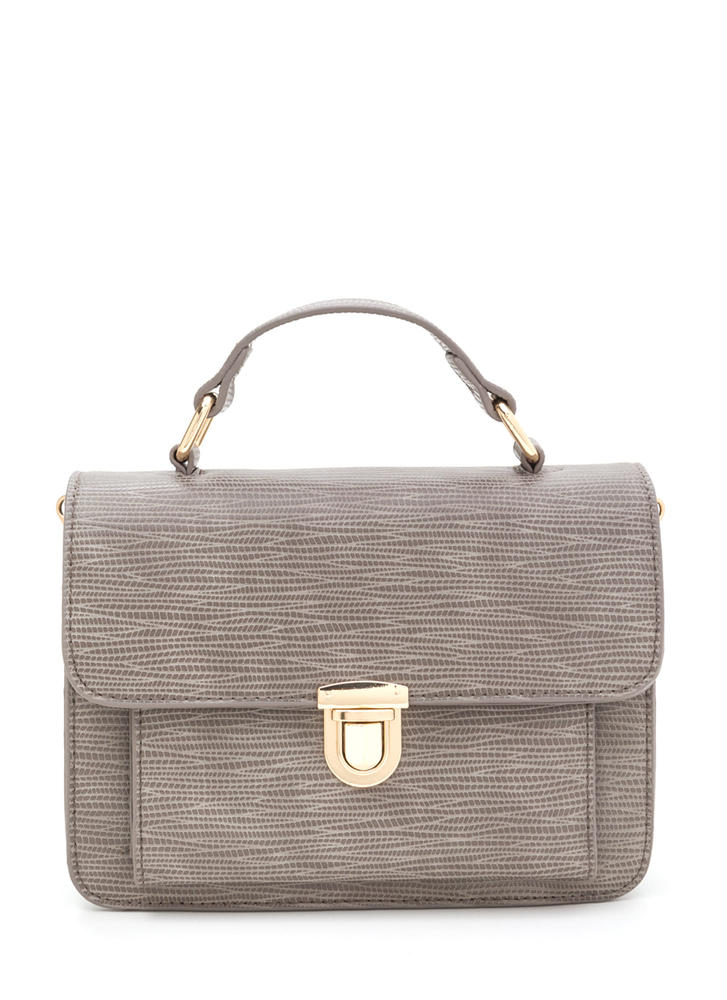 Classic Style Faux Reptile Purse  GREY